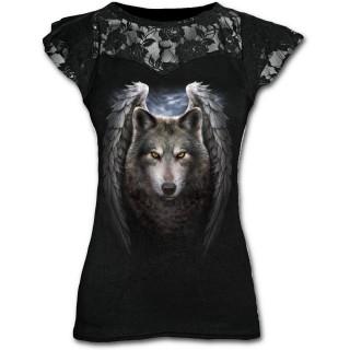 T-shirt femme gothique à dentelle avec ange des loups