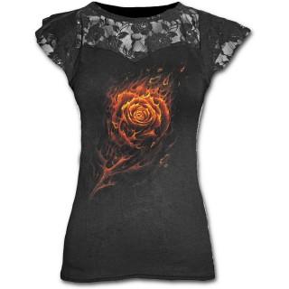 T-shirt femme gothique à dentelle avec rose de flammes