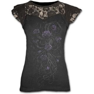 T-shirt femme gothique à dentelle avec roses violettes
