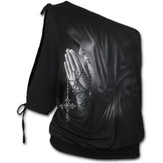 T-shirt femme gothique à épaule nue à femme priant avec une croix à crane