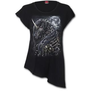 T-shirt femme gothique à licorne des ténèbres - coupe asymétrique