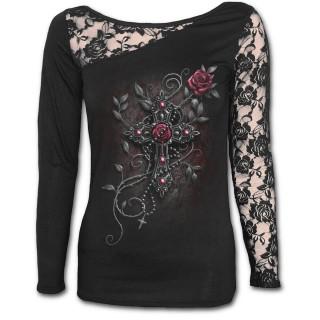 T-shirt femme gothique à manche longue en dentelle avec croix et rose