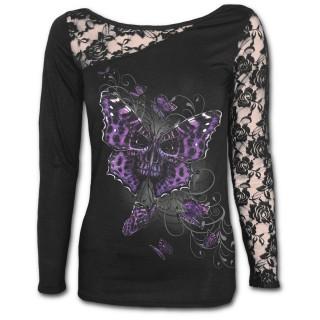 T-shirt femme gothique à manche longue en dentelle avec papillon violet