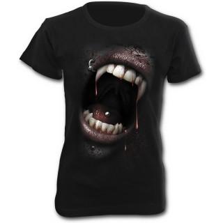 T-shirt femme gothique à mancherons avec bouche de vampire