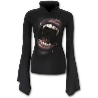 T-shirt femme gothique à manches amples avec bouche de vampire