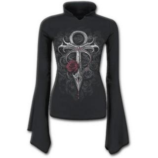 T-shirt femme gothique à manches amples avec pieu et lit de roses