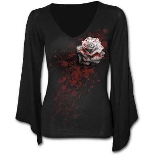 T-shirt femme gothique à manches amples et col V avec rose ensanglanté et éclaboussures