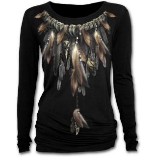 T-shirt femme gothique à manches longues avec motif amérindien