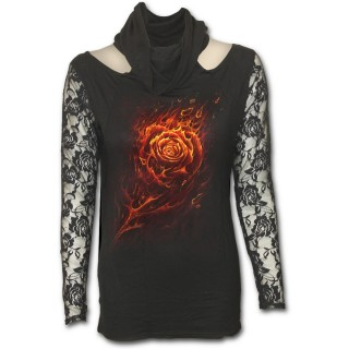 T-shirt femme gothique à manches longues et capuche avec rose de flammes