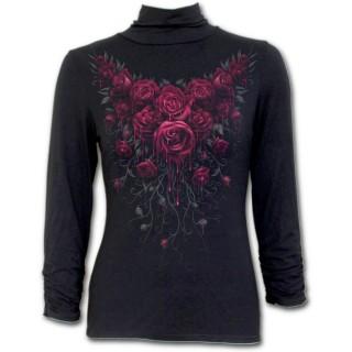 T-shirt femme gothique à manches longues et col haut avec roses ensanglantées