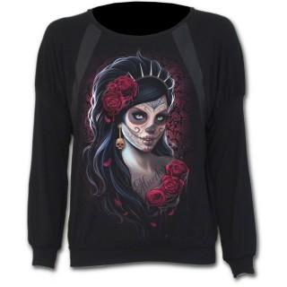 """T-shirt femme gothique à manches longues """"Jour des morts"""" avec Catrina Calavera"""