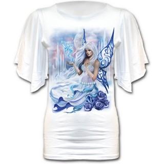 T-shirt femme gothique à manches voilées avec fée de l'hiver