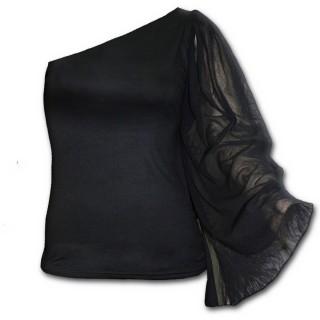 T-shirt femme gothique noir à manche voilée et épaule nue