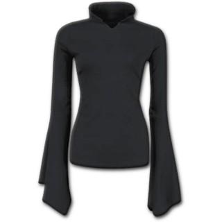 T-shirt femme gothique noir à manches amples et col haut
