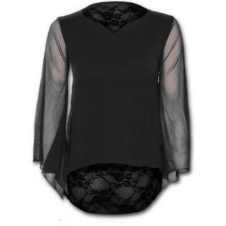 T-shirt femme gothique noir à manches longue voilée et dentelle de fleurs