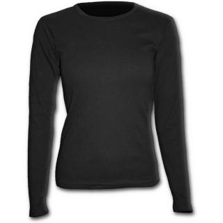 T-shirt femme gothique noir à manches longues et col rond