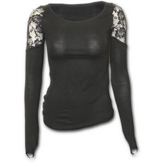 T-shirt femme gothique noir à manches longues et épaules en dentelle