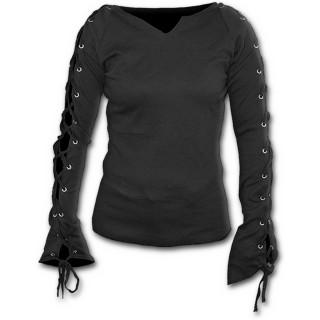T-shirt femme gothique noir à manches longues à lacets