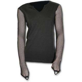 T-shirt femme gothique noir à manches longues à mailles filet