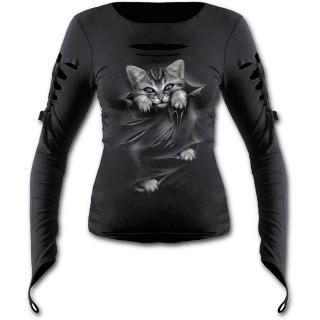 T-shirt femme gothique ouvert à manche longues avec chat gris à griffes sorties et déchirures