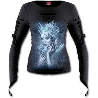 T-shirt femme gothique ouvert à manche longues avec reine des glaces tenant une rose de givre