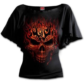 """T-shirt femme gothique """"SKULL BLAST"""" - manches chauve-souris"""