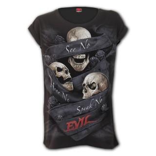 "T-shirt femme gothique à trio de cranes ""SEE NO EVIL"""