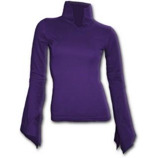 T-shirt femme gothique violet à manches amples et col haut