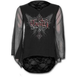 T-shirt femme à manches longue et dentelle avec croix gothique ailée