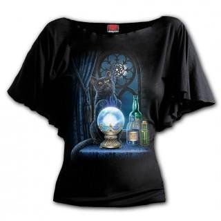 """T-shirt femme à manches voilées chat noir """"THE WITCHES APRENTICE"""""""