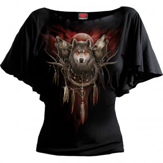 T-shirt femme manches voilées à loups sur attrape-rêves
