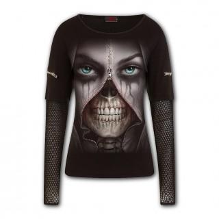 """T-shirt femme modèle """"ZIPPED"""" avec visage zippé - manches maille et zips"""