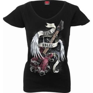 """T-shirt femme noir avec guitare """"Rock Angel"""""""