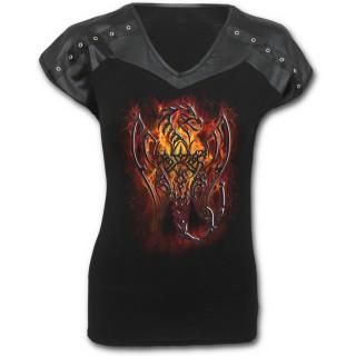 T-shirt femme noir gothique à manches courtes rivetées avec dragon tribal en feu