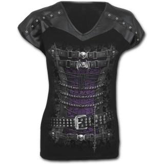 T-shirt femme gothique avec motif corset de cuir et métal