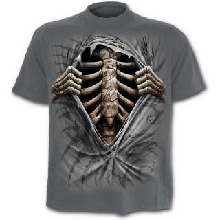 T-shirt gothique gris pour enfant imitation déchiré sur cage thoracique