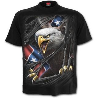 T-shirt gothique homme avec Aigle et drapeau Rebelle
