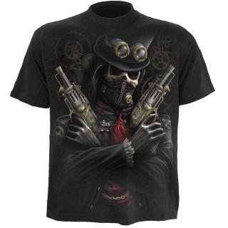 T-shirt gothique homme avec bandit Steam Punk et crane à rouages