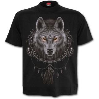 T-shirt gothique homme avec loup et attrape-rêves amérindien