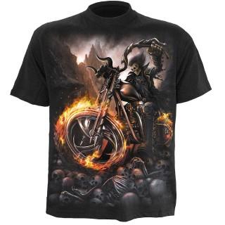 T-shirt gothique homme avec moto à roues de feu