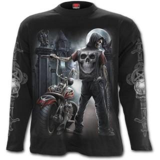 T-shirt gothique homme à manches longues avec biker squelette et moto démoniaque