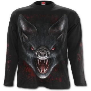 T-shirt gothique homme à manches longues avec chauves-souris vampires et lune rouge