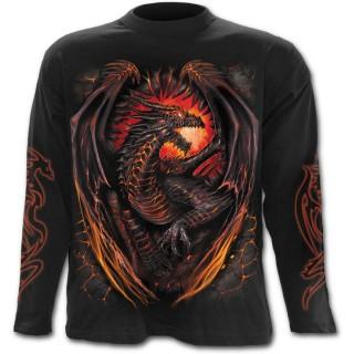 T-shirt gothique homme à manches longues avec dragon flamboyant