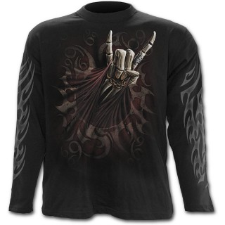 T-shirt gothique homme à manches longues avec guitariste faisant le salut Rock