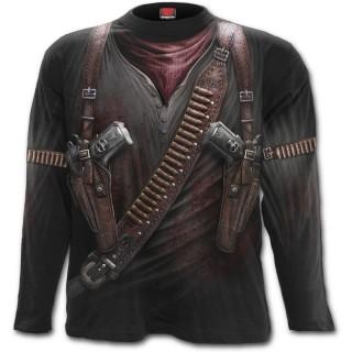T-shirt gothique homme à manches longues avec motif imitation tenue de mercenaire