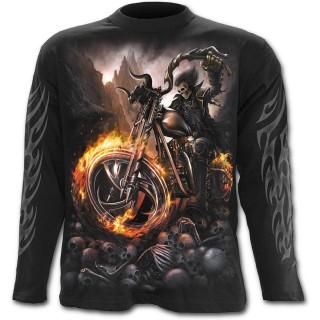 T-shirt gothique homme à manches longues avec moto à roues de feu