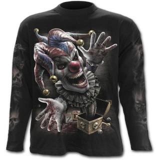 T-shirt gothique homme à manches longues à boite surprise avec clown sanguinaire