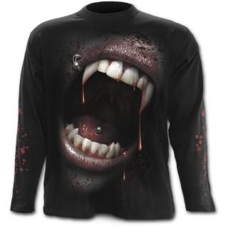 T-shirt gothique homme à manches longues à bouche de vampire et crane de sang