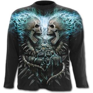 T-shirt gothique homme à manches longues à cranes en face à face et flammes bleues