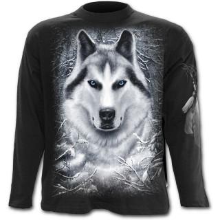 T-shirt gothique homme à manches longues à loup dans une forêt enneigée